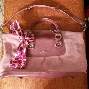 Coach Pale Rose Suede and Plum Patent Satchel EUC